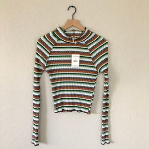 Free People Tops - Free People Mint High Neck Striped Shirt